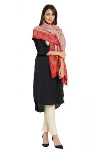 KCS Kani Stole with Phooldaar Border, Red Multi