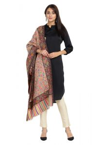 KCS Kani Stole with Heavy Floral Border, Black Multi